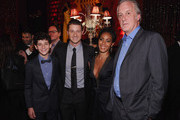 (L-R)  Actor David Mazouz, actor  Benjamin McKenzie, actress Jada Pinkett Smith and  Executive Producer Bruno Heller attend the 'Gotham' series premiere after party at The New York Public Library on September 15, 2014 in New York City.