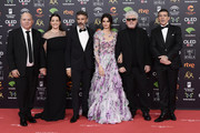 (L-R) Bertin Almodovar, Nora Navas, Leonardo Sbaraglia, Penelope Cruz and Antonio Banderas attend the Goya Cinema Awards 2020 during the 34th edition of the Goya Cinema Awards at Jose Maria Martin Carpena Sports Palace on January 25, 2020 in Malaga, Spain.