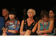 Susie Lau, Fiona Lambert and Hillary Alexander attend the Graduate Fashion Week George Gold Award show at The Old Truman Brewery on June 2, 2015 in London, England.