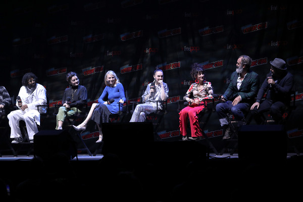 'Snowpiercer' At New York Comic Con 2019 [snowpiercer,performance,entertainment,performing arts,event,stage,heater,musical theatre,performance art,theatre,audience,daveed diggs,steven ogg,sheila vand,lena hall,alison wright,mickey sumner,graeme manson,l-r,new york comic con]