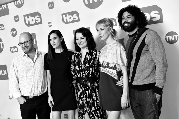 WarnerMedia Winter TCA 2020 - Green Room [image,social group,black-and-white,youth,fashion,monochrome,event,design,fun,photography,monochrome photography,jennifer connelly,mickey sumner,alison wright,graeme manson,winter tca,color version,green room,pasadena,warnermedia,jennifer connelly,graeme manson,image,photograph,black and white,livingly media,monochrome,getty images,lonny]
