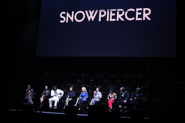 'Snowpiercer' At New York Comic Con 2019 [snowpiercer,projection screen,text,stage,performance,event,display device,design,convention,theatre,font,jennifer connelly,sheila vand,lena hall,alison wright,daveed diggs,mickey sumner,steven ogg,l-r,new york comic con]