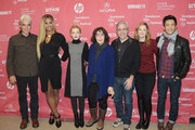"(L-R) Actors Sam Elliott, Laverne Cox, Julia Garner and Lily Tomlin, director Paul Weitz, and actors Judy Greer and John Cho attend the ""Grandma"" premiere during the 2015 Sundance Film Festival on January 30, 2015 in Park City, Utah."