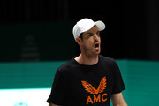Andy Murray of Great Britain looks on during a practice session ahead of his quarter final match on Day Five of the 2019 Davis Cup at La Caja Magica on November 22, 2019 in Madrid, Spain.