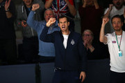 Andy Murray of Great Britain celebrates during the quarter final match between Kyle Edmund and Philipp Kohlschreiber of Germany on Day Five of the 2019 Davis Cup at La Caja Magica on November 22, 2019 in Madrid, Spain.