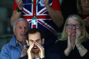 Andy Murray of Great Britain watches the quarter final match between Kyle Edmund and Philipp Kohlschreiber of Germany on Day Five of the 2019 Davis Cup at La Caja Magica on November 22, 2019 in Madrid, Spain.