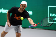 Andy Murray of Great Britain in action during a practice session ahead of his quarter final match on Day Five of the 2019 Davis Cup at La Caja Magica on November 22, 2019 in Madrid, Spain.