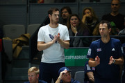 Andy Murray of Great Britain reacts as he watches his teammates Neal Skupski of Great Britain and Jamie Murray of Great Britain play in their semi-final doubles match against Rafael Nadal and Feliciano Lopez of Spain during Day 6 of the 2019 Davis Cup at La Caja Magica on November 23, 2019 in Madrid, Spain.