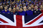 The Great Britain team celebrate after beating the Uzbekistan team in the World Group Play Off during day three of the Davis Cup by BNP Paribas World Group Play off between Great Britain and Uzbekistan at Emirates Arena on September 16, 2018 in Glasgow, Scotland.