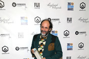 Luca Guadagnino poses with his award at the 2017 Gotham Awards sponsored by Greater Ft. Lauderdale Tourism at Cipriani, Wall Street on November 27, 2017 in New York City.