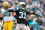 Charles Tillman #31 of the Carolina Panthers celebrates after forcing a fumble by the Green Bay Packers during their game at Bank of America Stadium on November 8, 2015 in Charlotte, North Carolina.