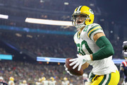 Jimmy Graham #80 of the Green Bay Packers celebrates scoring a touchdown during the third quarter against the New England Patriots at Gillette Stadium on November 4, 2018 in Foxborough, Massachusetts.