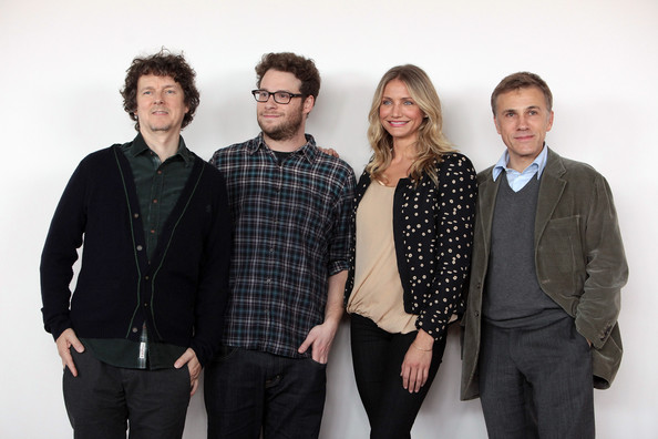 "Director Michel Gondry (L) poses with s (L to R) Seth Rogen, Cameron Diaz and Christoph Waltz during the ""The Green Hornet"" photocall at Exedra Hotel on December 7, 2010 in Rome, Italy."