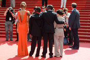 (L-R) Actress Anais Monory and actor Souleymane Deme, director Mahamat Saleh Haroun and producer Florence Stern attend the 'Grigris' Premiere during the 66th Annual Cannes Film Festival on May 22, 2013 in Cannes, France.
