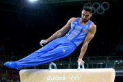Louis Smith of Great Britain competes on the pommel horse in the Artistic Gymnastics Men's Team qualification on Day 1 of the Rio 2016 Olympic Games at Rio Olympic Arena on August 6, 2016 in Rio de Janeiro, Brazil.