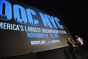 """(L-R) DOC NYC Artistic Director Thom Powers, Producer Daphne Pinkerson, and Director Marc Levin take part in a Q&A following the HBO Documentary Film """"Class Divide"""" screening during DOC NYC at SVA Theater on November 15, 2015 in New York City."""