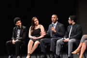 (L-R) YoungArts alumni Justice Smith, Analisa Gutierrez, Joseph Wood and Julian Aldana-Tejada attend HBO's YoungArts MasterClass: Anna Deavere Smith Screening At The Metropolitan Museum Of Art on April 7, 2014 in New York City.