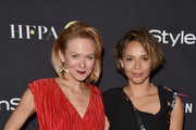 Louisa Krause (L) and Carmen Ejogo attend the HFPA & InStyle annual celebration of 2017 Toronto International Film Festival at Windsor Arms Hotel on September 9, 2017 in Toronto, Canada.