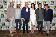 (L-R) Sean Jablonski, David O'Leary, Neal McDonough, Michael Malarkey, Laura Mennell and Aidan Gillen attend HISTORY's Project Blue Book SDCC Panel 2019 at Hilton San Diego Bayfront Hotel on July 20, 2019 in San Diego, California.