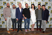 (L-R) Sean Jablonski, David O'Leary, Neal McDonough, Michael Malarkey, Damian Holbrook, Laura Mennell and Aidan Gillen attend HISTORY's Project Blue Book SDCC Panel 2019 at Hilton San Diego Bayfront Hotel on July 20, 2019 in San Diego, California.