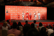 (L-R) Paula Creamer of the USA, Inbee Park of South Korea, Suzann Pettersen of Norway and Shanshan Feng of China talk to the media during a photocall at the Fairmont Hotel prior to the start of the 2014 HSBC Women's Champions on February 25, 2014 in Singapore, Singapore.
