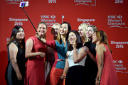 (L to R) Inbee Park, Suzann Pettersen, Jessica Korda, Michelle Wie, Chella Choi, Anna Nordqvist, Paula Creamer and Lydia Ko take a selfie at the launch event for the HSBC Women's Champions at the Fairmont Hotel on March 3, 2015 in Singapore, Singapore.