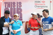 Suzann Pettersen of Norway and Inbee Park of South Korea smile during a promotional event prior to the start of the 2014 HSBC Women's Champions on February 25, 2014 in Singapore, Singapore.