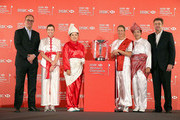 (L-R) Giles Morgan (Global Head of Sponsorship and Events, HSBC ) Paula Creamer of the USA, Inbee Park of South Korea, Suzann Pettersen of Norway, Shanshan Feng of China and Robbie Henchman (Global Co-Managing Director, IMG Golf) pose for a photograph during a photocall at the Fairmont Hotel prior to the start of the 2014 HSBC Women's Champions on February 25, 2014 in Singapore, Singapore.