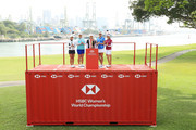 (L-R) Tiffany Chan of Hong Kong, Shanshan Feng of China, Inbee Park of South Korea, Lexi Thompson of the United States and So Yeon Ryu of South Korea pose during a photo call for the HSBC Women's Champions at Sentosa Golf Club on February 27, 2018 in Singapore.