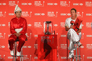 (L-R) Inbee Park of South Korea and Suzann Pettersen of Norway, the world number one and two, pose with the trophy during a photocall at the Fairmont Hotel prior to the start of the 2014 HSBC Women's Champions on February 25, 2014 in Singapore, Singapore.