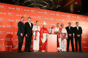 (L-R) Mike Whan (LPGA commissioner), Guy Harvey-Samuel (CEO at HSBC Singapore), Paula Creamer of the USA, Inbee Park of South Korea, Suzann Pettersen of Norway, Shanshan Feng of China, Giles Morgan (Global Head of Sponsorship and Events, HSBC ) and Robbie Henchman (Global Co-Managing Director, IMG Golf) pose for a photograph during a photocall at the Fairmont Hotel prior to the start of the 2014 HSBC Women's Champions on February 25, 2014 in Singapore, Singapore.