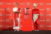 (L-R) Suzann Pettersen of Norway and Inbee Park of South Korea pose with the trophy during a photocall at the Fairmont Hotel prior to the start of the 2014 HSBC Women's Champions on February 25, 2014 in Singapore, Singapore.