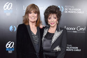 Linda Gray and Joan Collins attend the 60th Anniversary Party For The Monte-Carlo TV Festival at Sunset Tower Hotel on February 05, 2020 in West Hollywood, California.