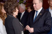 Joan Collins and HSH Prince Albert II attend the 60th Anniversary party for the Monte-Carlo TV Festival at Sunset Tower Hotel on February 05, 2020 in West Hollywood, California.