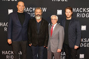 "(L to R) Actor Vince Vaughn, Director Mel Gibson, Medal of Honor recipient Col. Jack Jacobs and Actor Luke Bracey attend the ""Hacksaw Ridge"" DC Screening at the Navy Memorial and Naval Heritage Center on October 28, 2016 in Washington, DC."