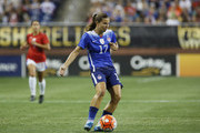 Tobin Heath #17 of the United States advances the ball against Haiti during the second half of the U.S. Women's 2015 World Cup victory tour match at Ford Field on September 17, 2015, in Detroit, Michigan.