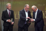 Paul Breitner, Andreas Brehme and Franz Beckenbauer are seen on stage the Hall Of Fame gala at Deutsches Fussballmuseum on April 01, 2019 in Dortmund, Germany.