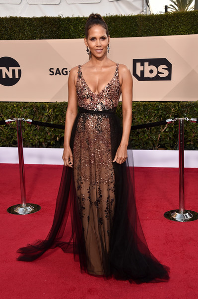 24th Annual Screen Actors Guild Awards - Arrivals [red carpet,carpet,dress,clothing,shoulder,gown,fashion model,hairstyle,flooring,fashion,arrivals,halle berry,screen actors guild awards,los angeles,california,the shrine auditorium]