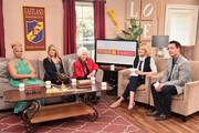"""(L-R) Actresses Kim Fields, Lisa Whelchel, Charlotte Rae, TV hosts Cristina Ferrare and Mark Steines attend Hallmark's Home and Family """"Facts Of Life Reunion"""" at Universal Studios Backlot on February 12, 2016 in Universal City, California."""