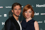 """Dan Stevens and wife Susie Stevens attends the press night of """"Hamlet"""" at Barbican Centre on August 25, 2015 in London, England."""