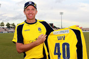 Dominic Cork of Hampshire celebrates his 40th birthday during the Friends Life T20 Quarter Final match between Hampshire and Durham at The Rose Bowl on August 7, 2011 in Southampton, England.