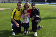 Match Mascots pose for a photo with Dominic Cork (l) of Hamshire and Marcus Trescothick (r) of Somerset prior to the Friends Life T20 match between Hampshire and Somerset at The Rose Bowl on June 1, 2011 in Southampton, England.