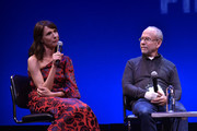 """Actress Dolly Wells and Executive Producer Bob Balaban (R) speak on stage during the Q&A for """"Can You Ever Forgive Me?"""" at Guild Hall during Hamptons International Film Festival 2018 - Day Four on October 7, 2018 in East Hampton, New York."""