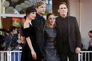 """(L-R) Sheila Vand, William Moseley, director Shirin Neshat and Matt Dillon attend the red carpet of the movie """"The Hand Of God"""" during the 78th Venice International Film Festival on September 02, 2021 in Venice, Italy."""