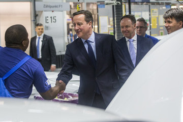Harald Krueger British Prime Minister David Cameron Visits BMW Car Manufacturing Plant in Munich