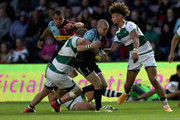 Mike Brown of Harlequins is tackled by Alun Walker of Ealing during the Harlequins v Ealing Trailfinders pre-season friendly at Twickenham Stoop on August 24, 2018 in London, England.