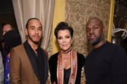 Lewis Hamilton, Kris Jenner and Corey Gamble pose for a photo as Harper's BAZAAR's Glenda Bailey celebrates her Damehood on May 05, 2019 in New York City.