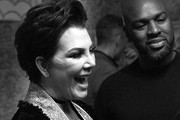 (EDITORS NOTE this image was shot in black and white) Kris Jenner and Corey Gamble pose for a photo as Harper's BAZAAR's Glenda Bailey celebrates her Damehood on May 05, 2019 in New York City.