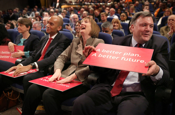Ed Miliband And Shadow Cabinet Attend Spring Event [people,event,red,audience,job,crowd,human,convention,employment,shadow cabinet attend spring event,rally,labour party,l-r,ed miliband,shadow cabinet members,supporters,ed balls,harriet harman,yvette cooper]