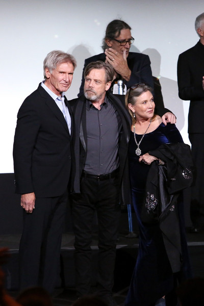 Premiere of 'Star Wars: The Force Awakens' - Red Carpet [star wars: the force awakens,event,fashion,suit,formal wear,photography,premiere,white-collar worker,performance,actors,carrie fisher,harrison ford,mark hamill,l-r,tcl theatres,red carpet,premiere,world premiere]